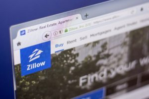 The homepage for the company Zillow.